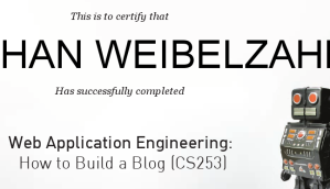 Certificate Udacity Web Engineering